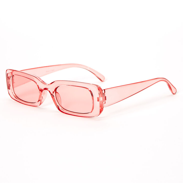 Slim Rectangle Transparent Sunglasses - Pink,