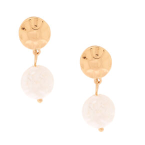 "Gold 1.5"" Freshwater Pearl Drop Earrings,"