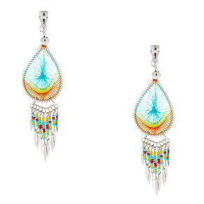 "Silver 3"" Threaded Teardrop Clip On Drop Earrings - Rainbow,"