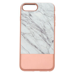 Rose Gold & Marble Protective Phone Case - Fits iPhone 6/7/8 Plus,