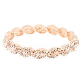 Rose Gold Rhinestone Halo Stretch Bracelet,