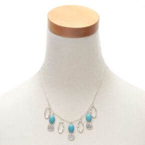 Silver Stone Statement Necklace - Turquoise,