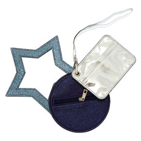 Metallic Glitter 3 Piece Wristlet - Blue,