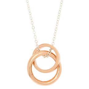 Mixed Metal Interlocking Circles Long Pendant Necklace,