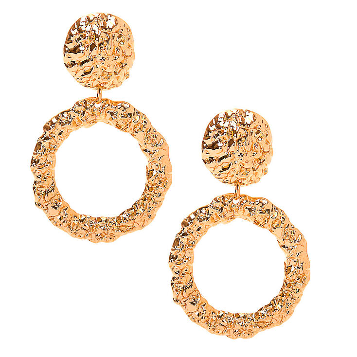 "Gold 2"" Textured Circle Drop Earrings,"