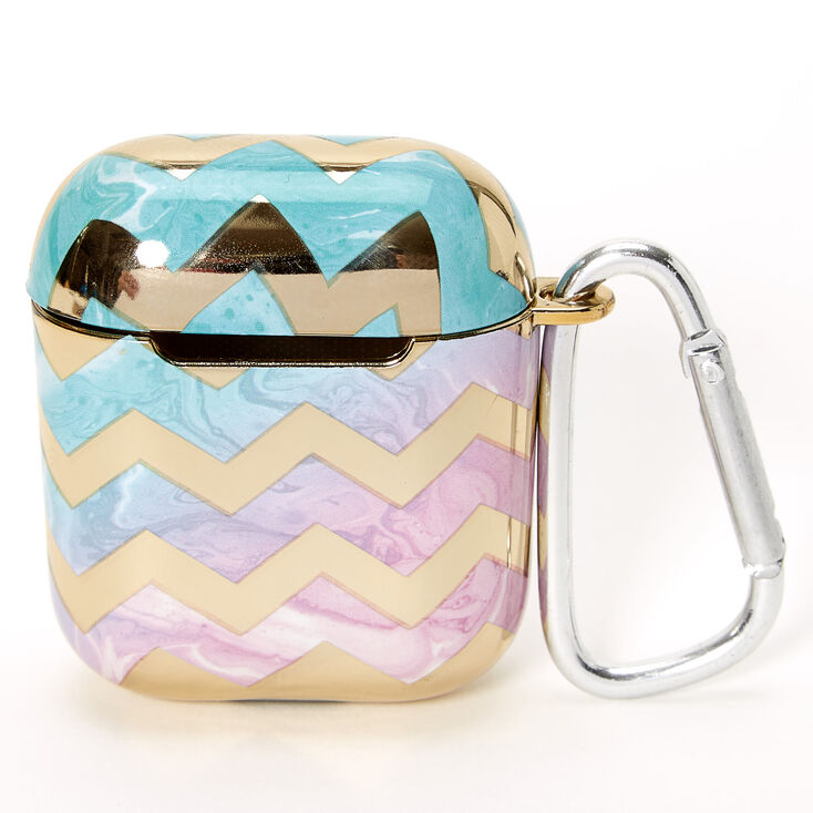 Gold Chevron Rainbow Marble Silicone Earbud Case Cover - Compatible With Apple AirPods,