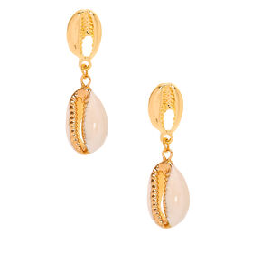 "Gold 1.5"" Cowrie Shell Drop Earrings,"