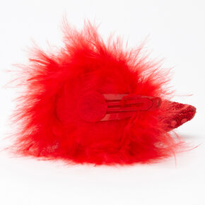Sequin Devil Horns Snap Hair Clips - Red, 2 Pack,