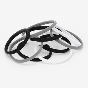 Black, Gray, & White Rolled Hair Ties - 10 Pack,