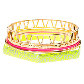 Gold & Neon Leopard Bangle Bracelets - 5 Pack,