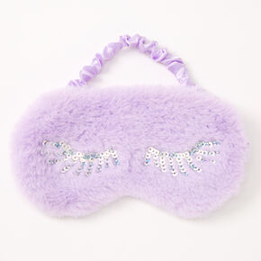 Plush Sequin Eyelash Sleeping Mask - Lilac,
