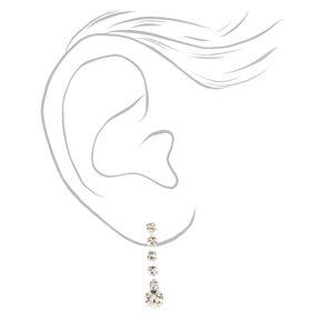 Silver Glass Rhinestone Round Scalloped Jewelry Set - 2 Pack,