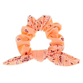 Paisley Print Bandana Bow Hair Scrunchie - Neon Coral,