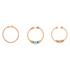 Rose Gold Sterling Silver Mixed Beads Faux Nose Rings - 3 Pack,