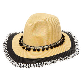 Black & White Frayed Panama Floppy Sun Hat,