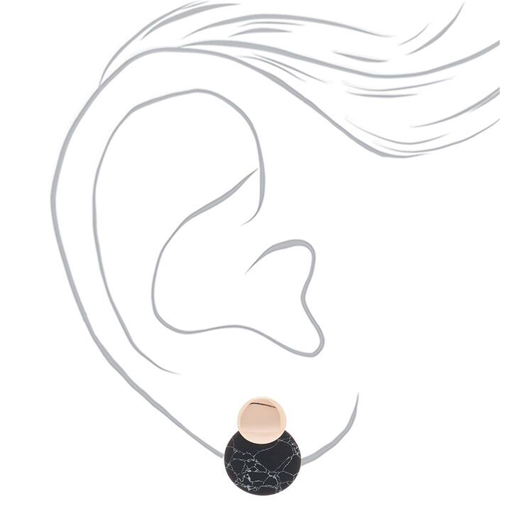 "Rose Gold 1"" Marbled Drop Earrings - Black,"