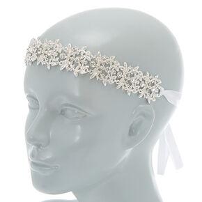 2-In-1 Silver Glass Rhinestone Belt & Headwrap,