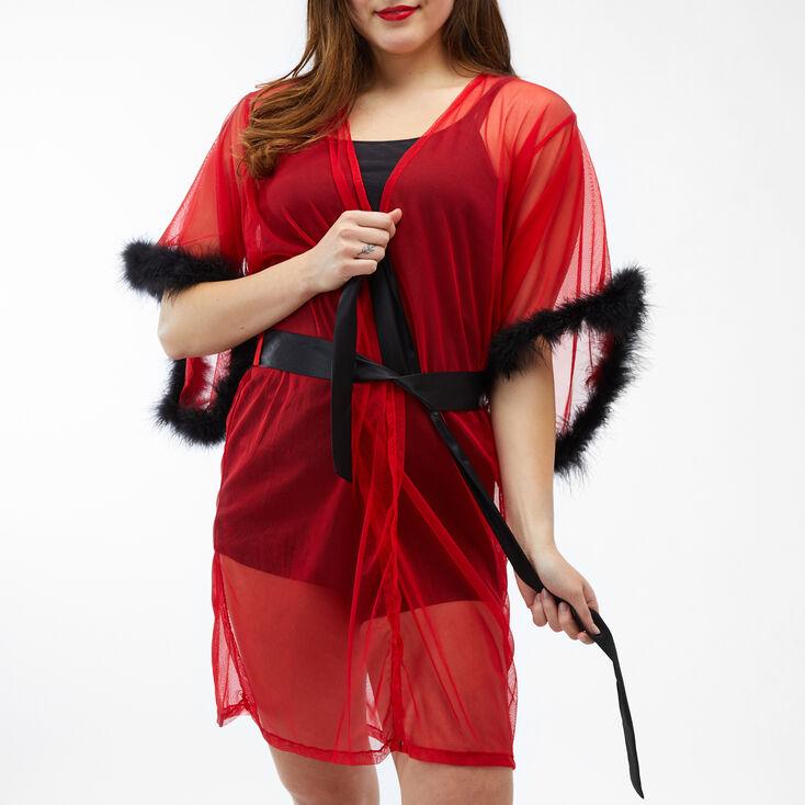 Valentine's Day Feather Trim Robe - Red,