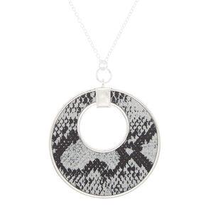 Silver Snake Skin Pendant Necklace,