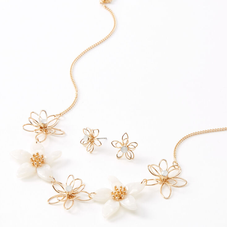 Gold Resin Wired Flower Jewelry Set - White, 2 Pack,