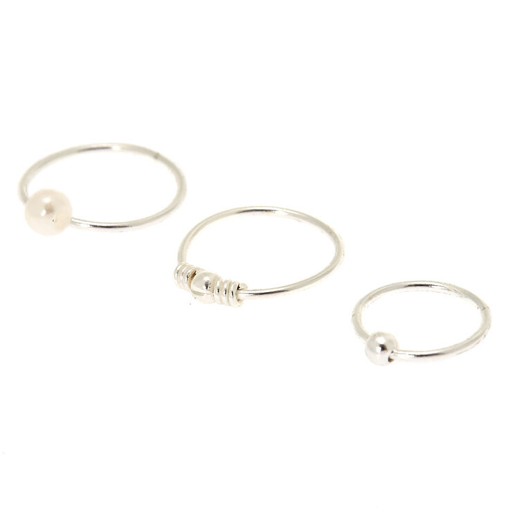 Sterling Silver 22G Pearl Bead Nose Rings - 3 Pack,
