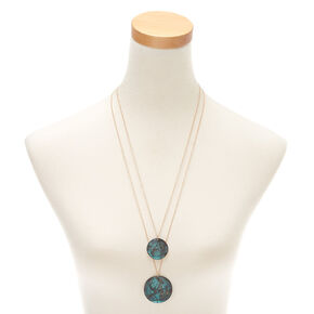 Patina Disk Long Multi Strand Necklace,