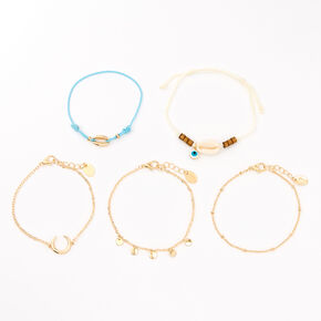 Gold Tulum Vibes Mixed Bracelets - Turquoise, 5 Pack,