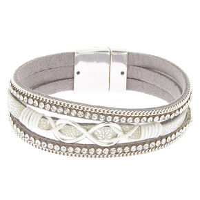 Embellished Infinity Wrap Bracelet - Silver,