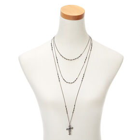 Hematite Cross Multi Strand Necklace,