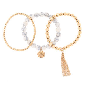 Clarity Fortune Stretch Bracelets - White, 3 Pack,