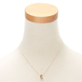 Rose Gold Cursive Initial Pendant Necklace - E,