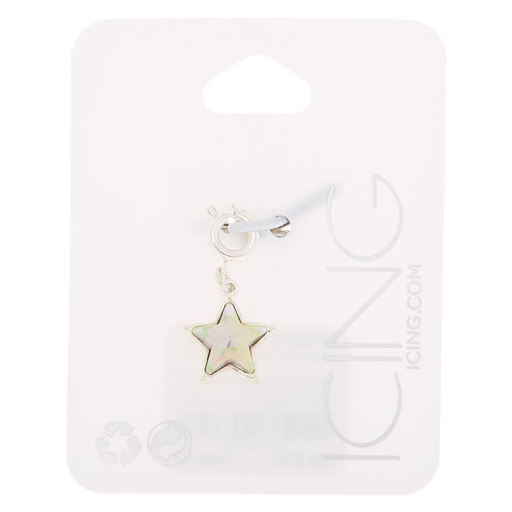 Silver Holographic Star Bracelet Charm,
