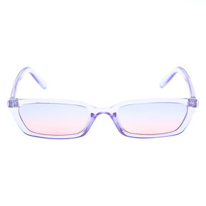 Slim Translucent Rectangle Sunglasses - Purple,