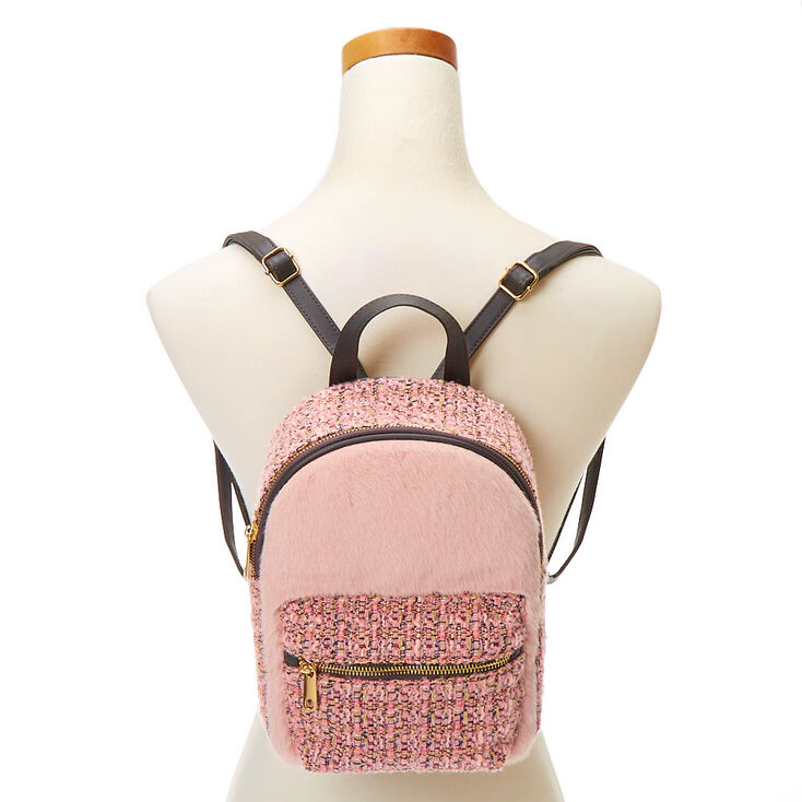 Furry Tweed Small Backpack - Pink,