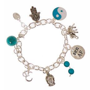 Sigma Kappa Sorority Silver Heart & Crystal Charm Bracelet,