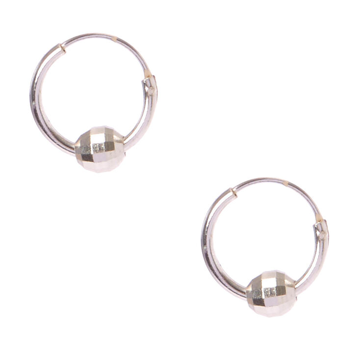 10M Sterling Silver Disco Ball Hoop Earrings,