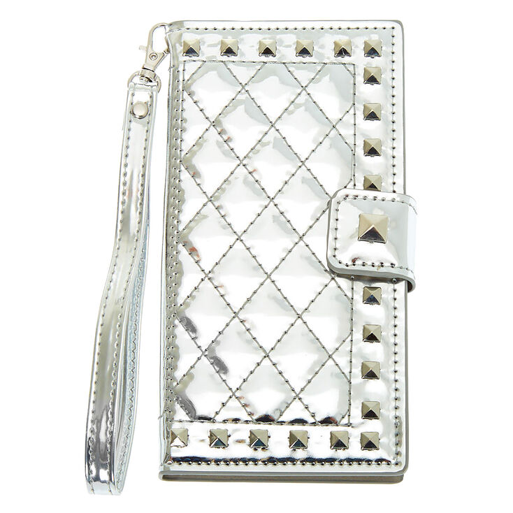 Silver Quilted Folio Phone Case - Fits iPhone XS Max,