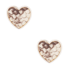 Silver Snake Print Heart Stud Earrings,