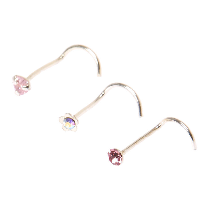 925 Sterling Silver Pink Heart Nose Studs,