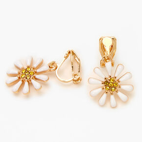 "Gold 1"" Daisy Clip On Drop Earrings - White,"