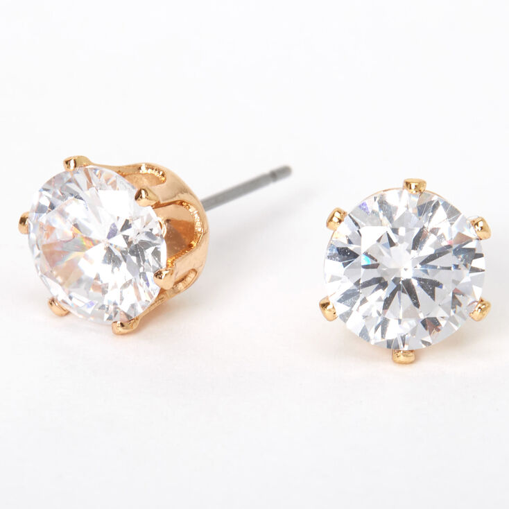 Gold Cubic Zirconia Round Stud Earrings - 8MM,