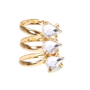 Tripe Teardrop Crystal Gold Tone Ear Cuff,