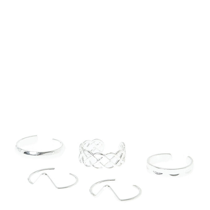 Stackable Silver-Toned Toe Rings,