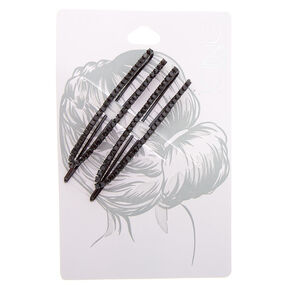 Black Rhinestone Open Bobby Pins - 2 Pack,