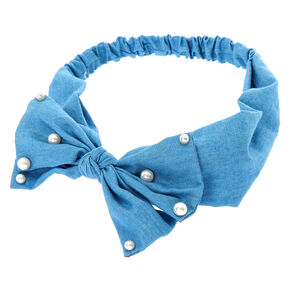 Denim Bow Pearl Headwrap,