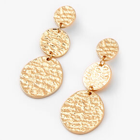 "Gold 2"" Trio Hammered Circle Drop Earrings,"