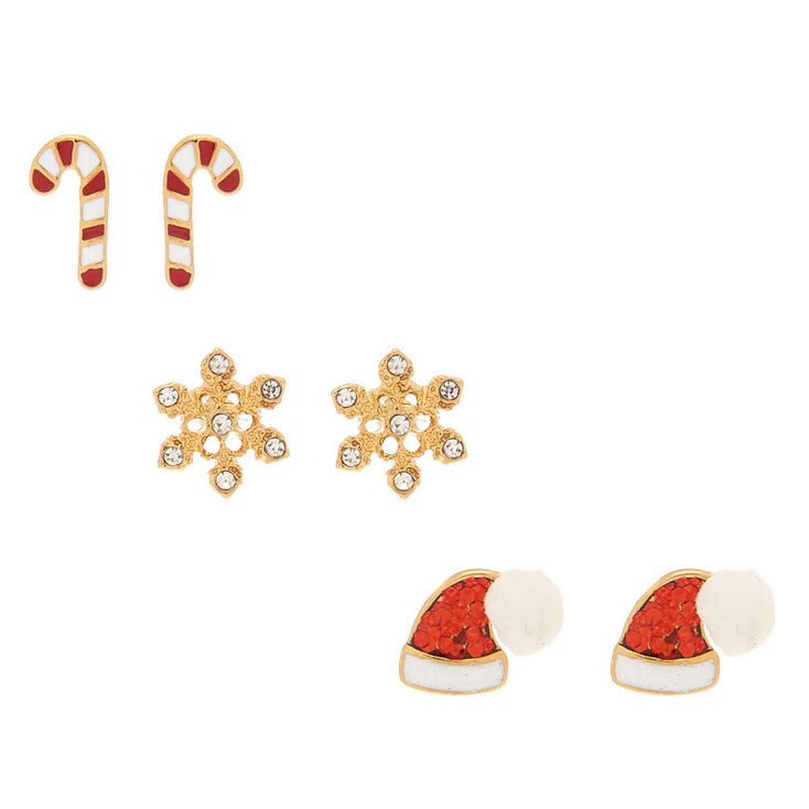 18kt North Pole Holiday Stud Earrings - 3 Pack,