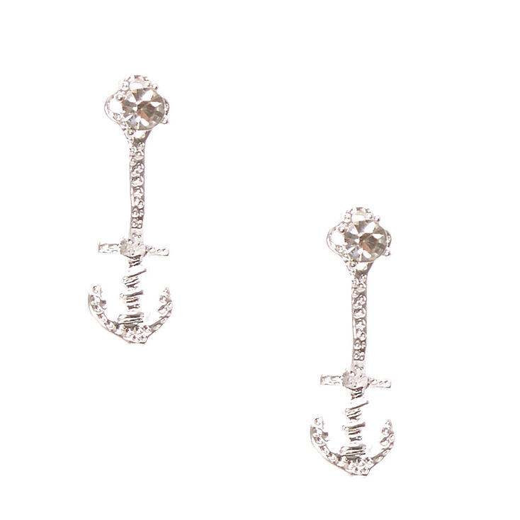 Silver Anchor Front & Back Drop Earrings,