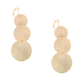 Gold Triple Spiral Disc Clip On Drop Earrings,