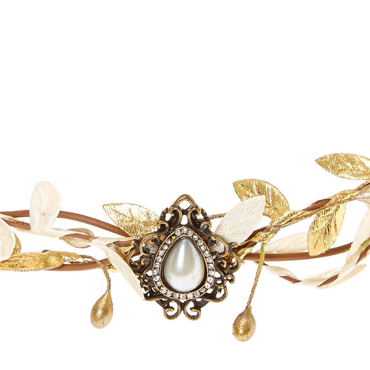 Gold & Ivory Leaf Flower Crown Headwrap,